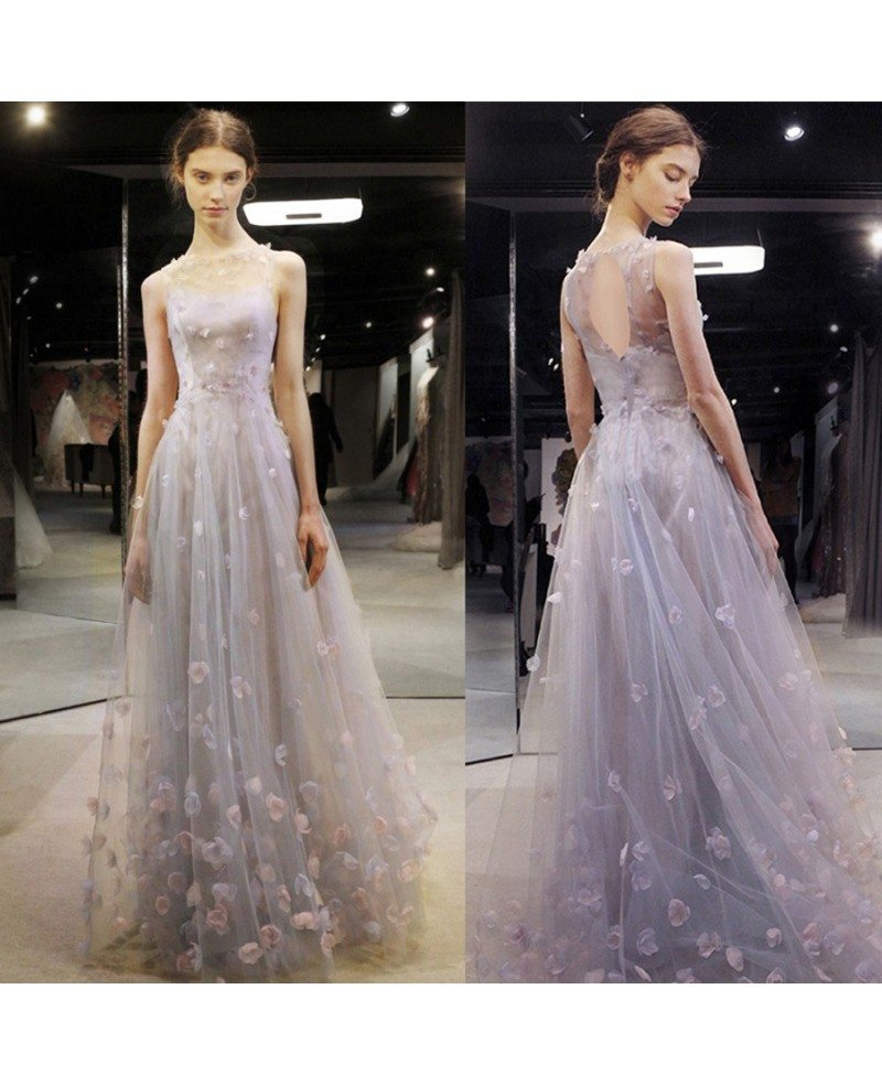 Fairy Flowers Petals Empire Flowy Long Wedding Dress Prom