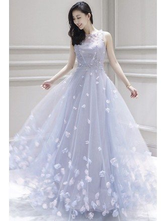 Fairy Flowers Petals Empire Flowy Long Wedding Dress Prom Dress Sleeveless