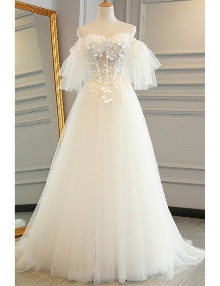 Fairy Flowers Puffy Off Shoulder Sleeves Tulle Wedding