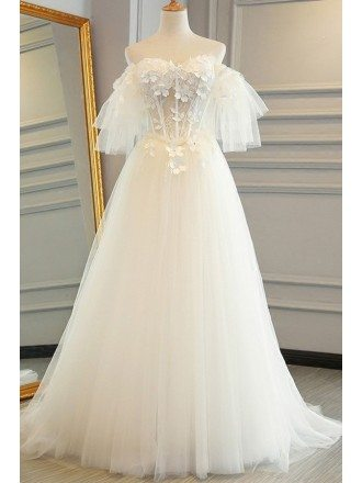 Fairy Flowers Puffy Off Shoulder Sleeves Tulle Wedding Dress with Lace Up