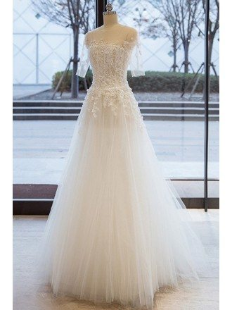 Beautiful Beaded Lace Sheer Half Sleeve Tulle Wedding Dress with Sleeves