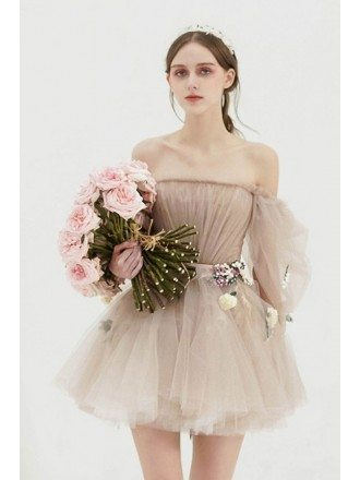 Gorgeous Off Shoulder Tulle Tutu Mini Short Party Dress with Flowers For Formal