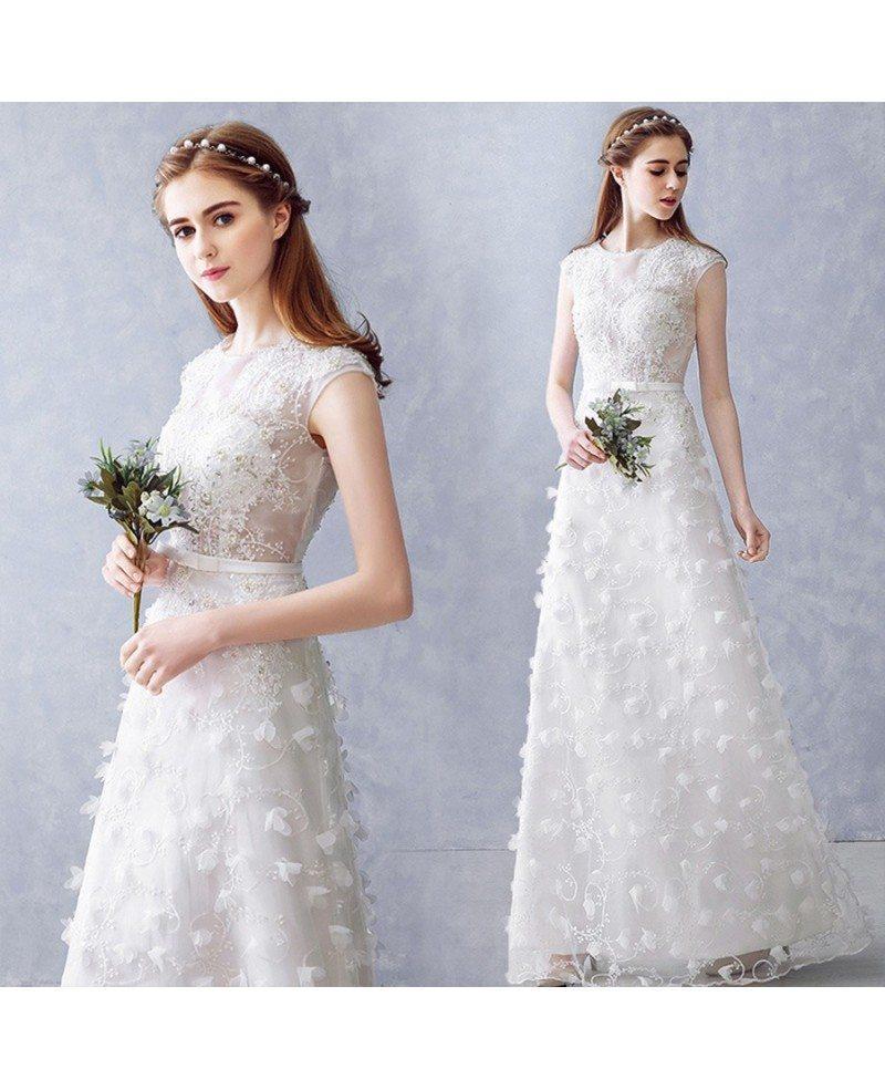 Aline Wedding Gown: Round Neck Beaded Illusion Neckline Aline Wedding Dress