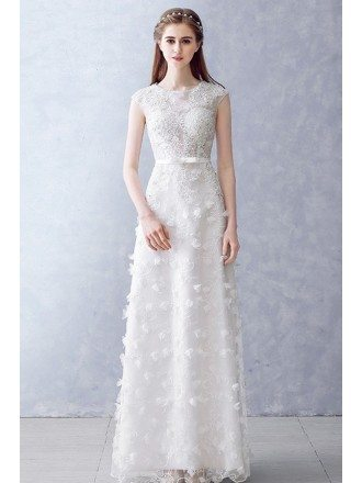 Round Neck Beaded Illusion Neckline Aline Wedding Dress For Reception Parties