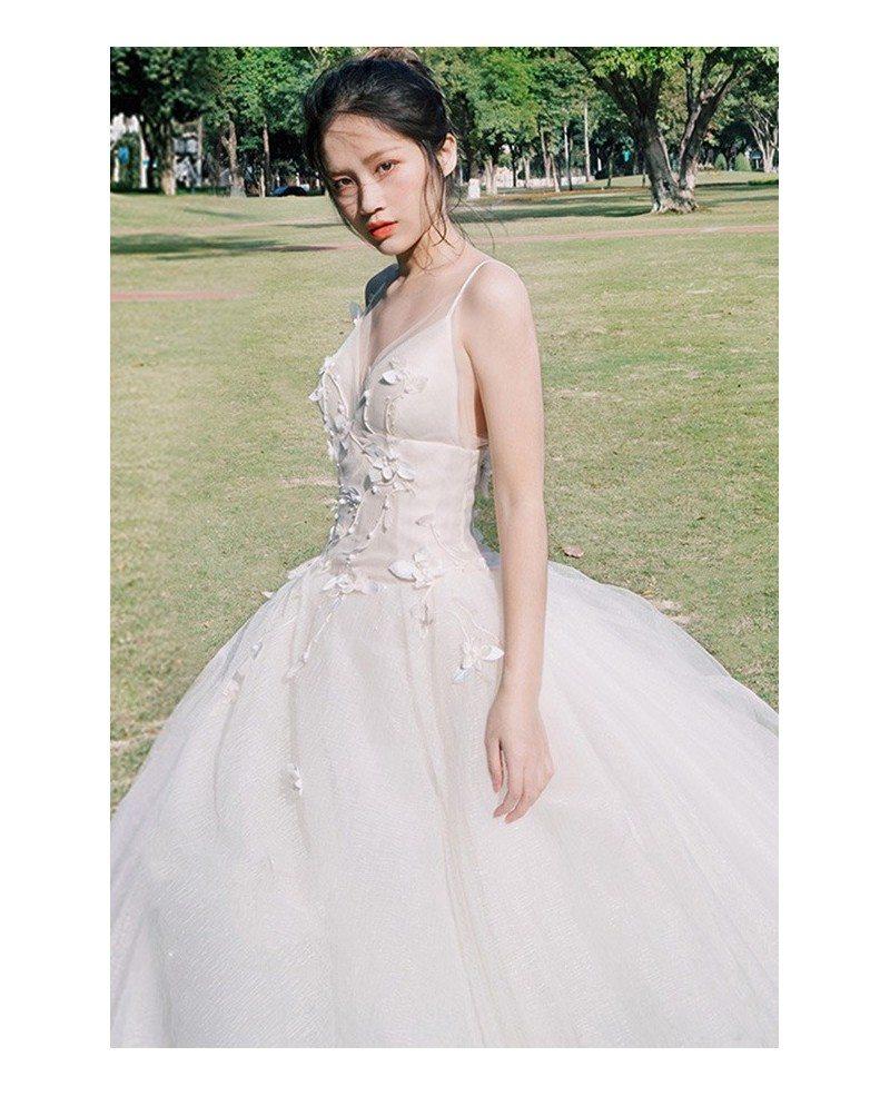 V Neck Wedding Gown: Peachy V-neck Beaded Ballgown Wedding Dress With Spaghetti
