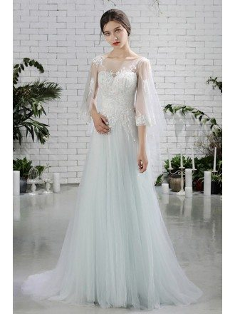 Fairy Butterfly Sleeves Aline Long Tulle Beach Wedding Dress For Destination Weddings