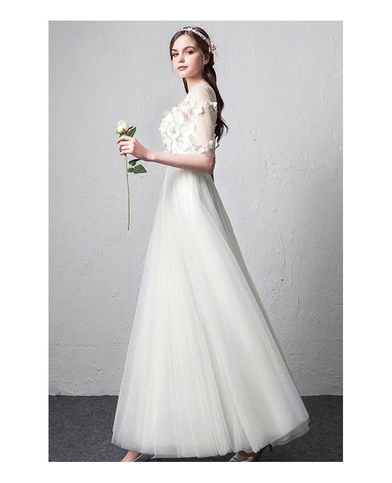 Simple Wedding Dress With Sleeves: Romantic Illusion Neckline Butterflies Simple Wedding