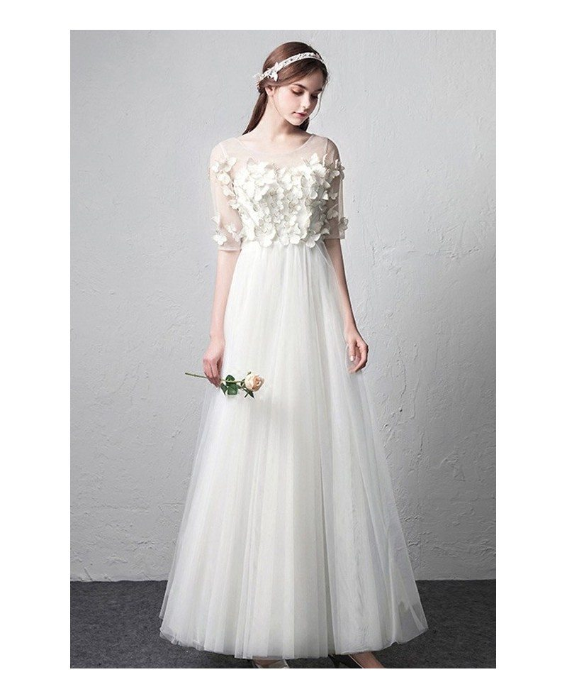 Simple Wedding Dresses With Sleeves: Romantic Illusion Neckline Butterflies Simple Wedding