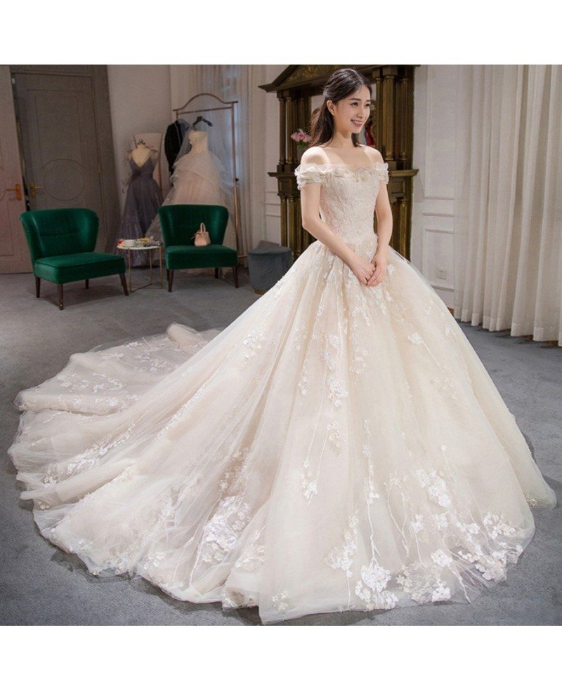 Charming Fairy Lace Ballgown Wedding Dress Off Shoulder with Train ...