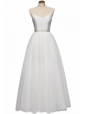 Vintage Simple Bodice Ballet Wedding Dress Floor Length with Straps