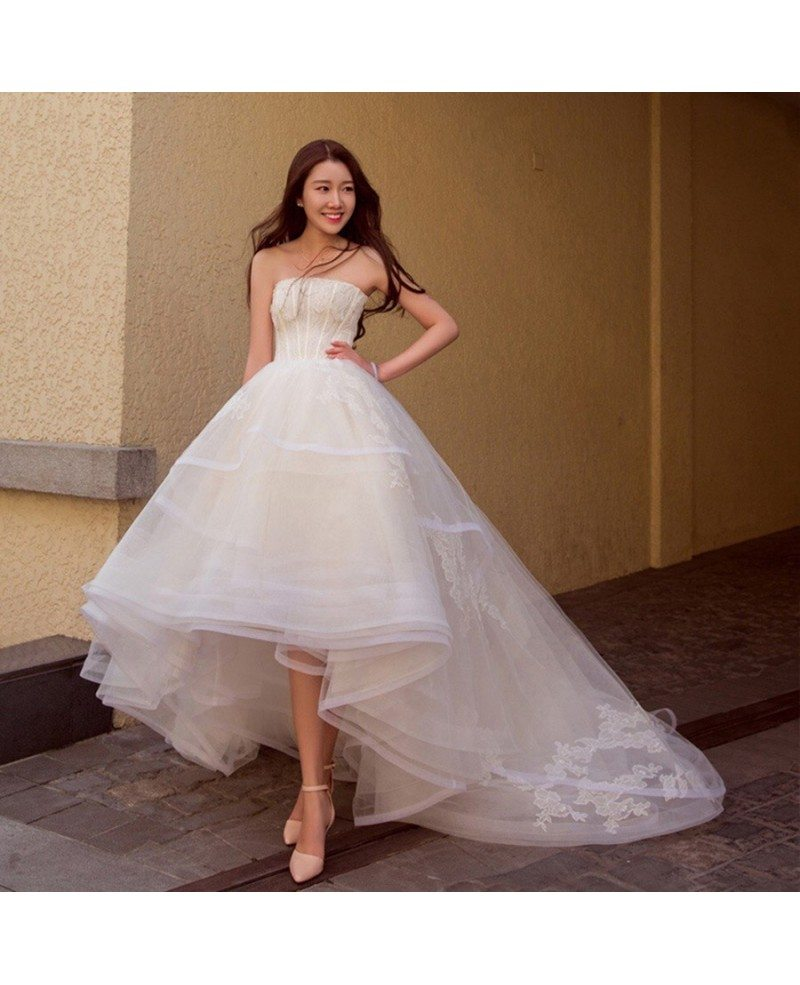 Asymmetrical Wedding Gown: Chic High Low Lace Ballgown Wedding Dress Asymmetrical