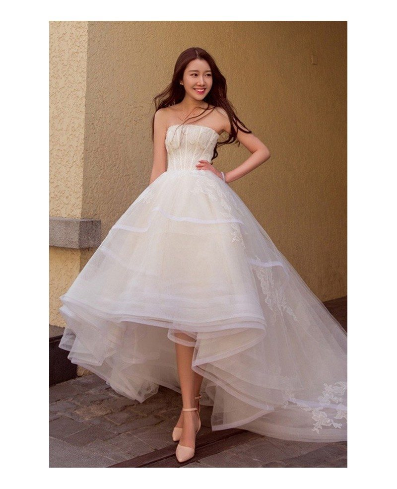 Chic High Low Lace Ballgown Wedding Dress Asymmetrical Strapless ...