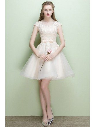 Pretty Light Champagne Lace Short Party Dress with Cap Sleeves