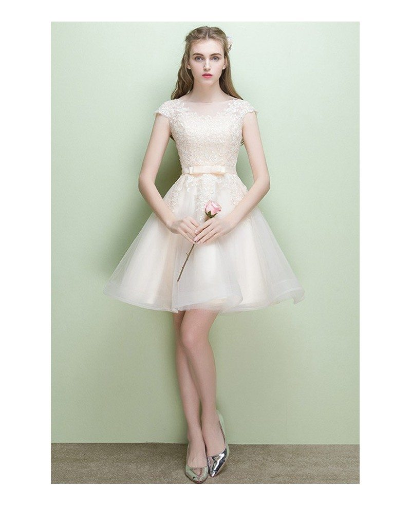 7885beb55130 Pretty Light Champagne Lace Short Party Dress With Cap