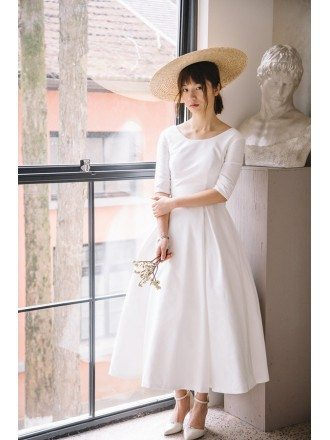 Vintage Tea Length Flare Simple Wedding Dress Satin with Half Sleeves