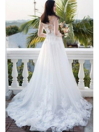 Gorgeous White Flowers Long Train Beach Wedding Dress with Sheer Long Sleeves
