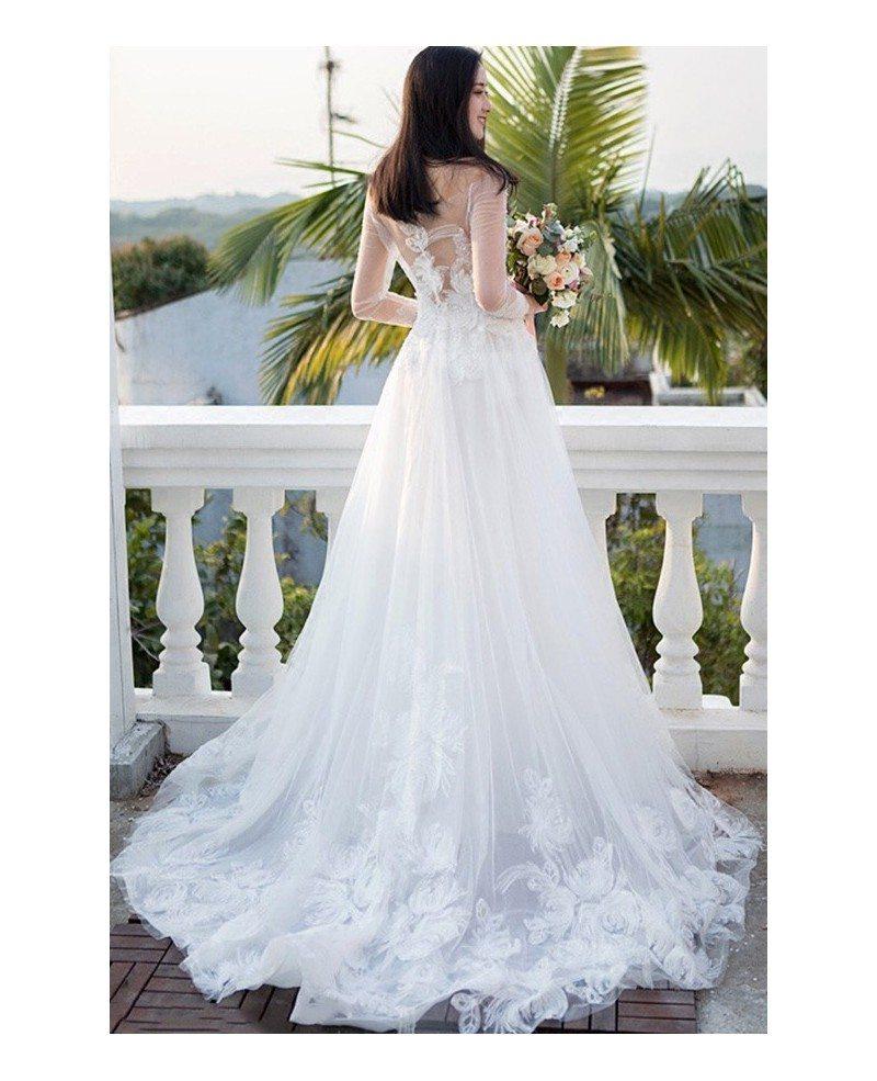 Gorgeous White Flowers Long Train Beach Wedding Dress With Sheer