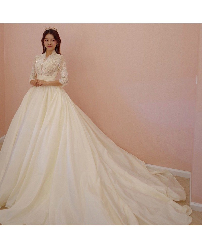 Unique Lace Empire 3/4 Lace Sleeve Ballgown Wedding Dress Princess ...