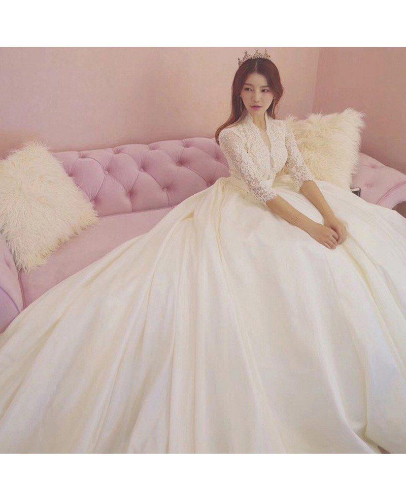 Unique Lace Empire 3/4 Lace Sleeve Ballgown Wedding Dress Princess ...