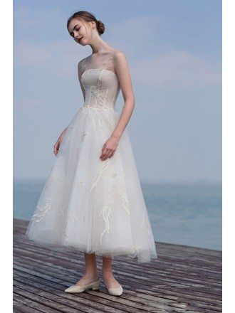 Gorgeous Outdoor Tea Length Tulle Wedding Dress with Sheer Neckline