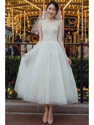 Vintage Chic Tea Length Tulle Wedding Dress Reception Dress with Unique Lace