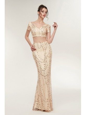 Sexy Two Piece Gold Tight Prom Dress with Sparkle Beading