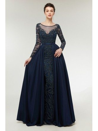 All Beading Navy Blue Slim Prom Dress with Sleeves Cape Skirt