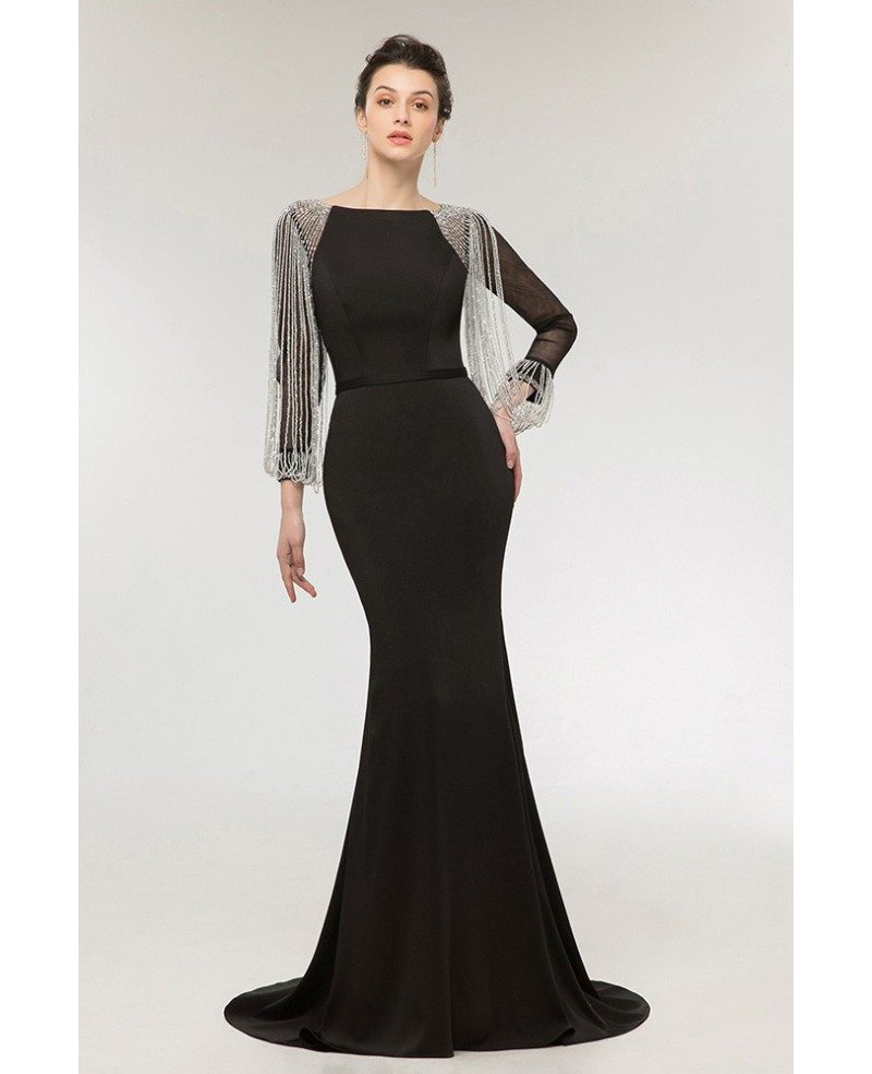 Gothic Black Long Mermaid Evening Dress with Long Beading Sleeves ...