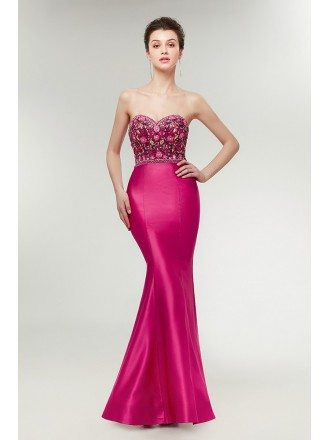 Fuchsia Slender Mermaid Formal Dress with Embroidery Bodice