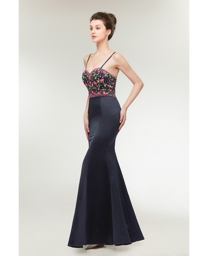 Black Long Slim Trumpet Prom Dress With Embroidery Bodice