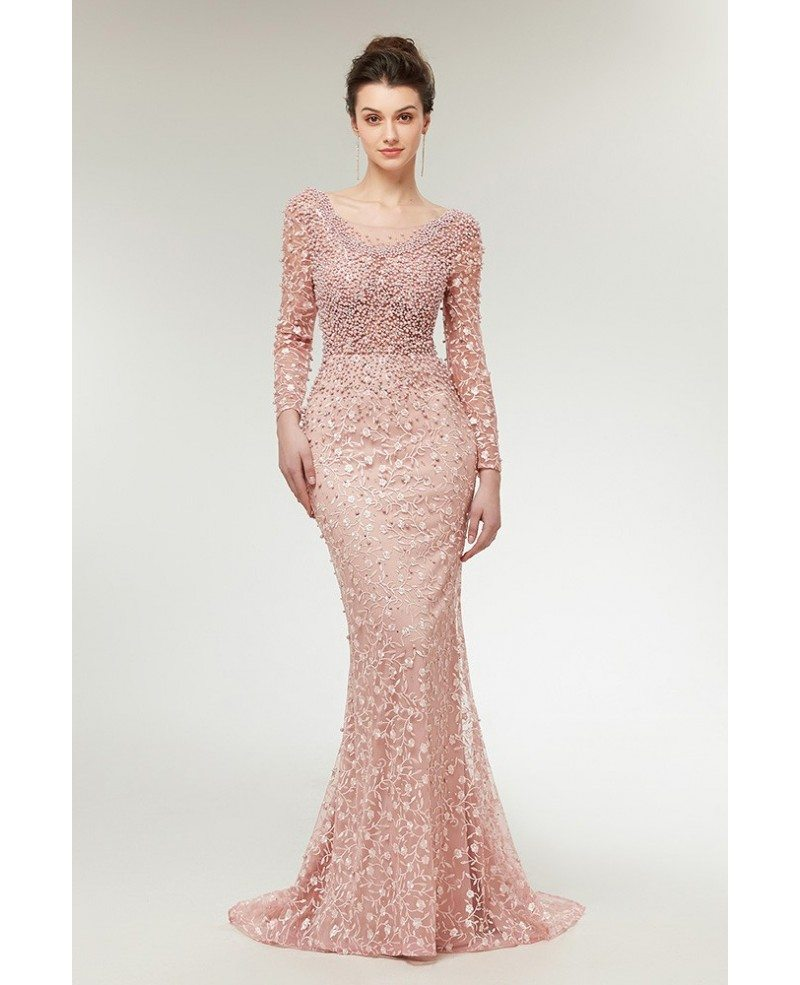 Cute Pink All Lace Long Sleeved Prom Dress with Beaded Bodice #C0021 ...