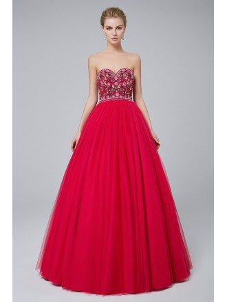 Fuchsia Ballroom Tulle Prom Dress with Embroidery Bodice