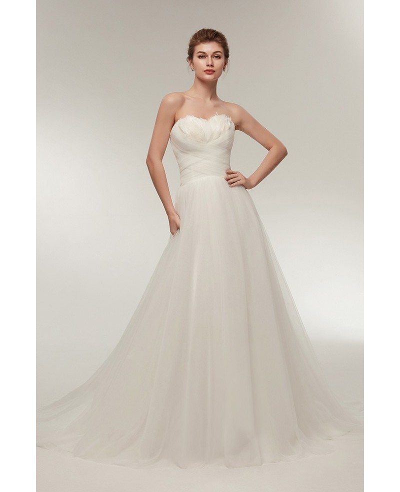 Elegant Long Tulle Feather Beach Wedding Dress Strapless with Train ...