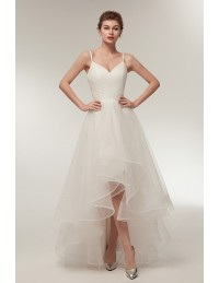 Simple High Low Tulle Beach Wedding Dress with Spaghatti Straps