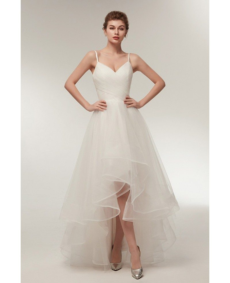 Simple High Low Tulle Beach Wedding Dress With Spaghatti