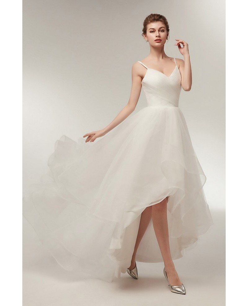 Simple high low tulle beach wedding dress with spaghatti for Tulle high low wedding dress