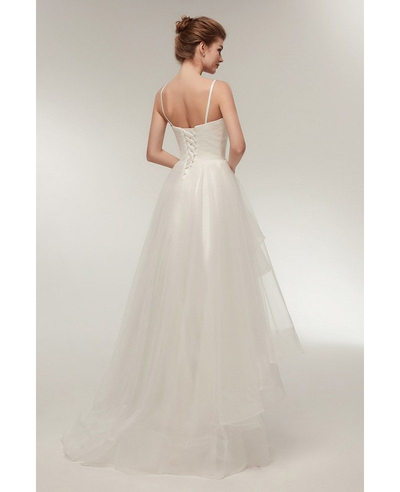 Simple Low Key Wedding Dresses: Simple High Low Tulle Beach Wedding Dress With Spaghatti
