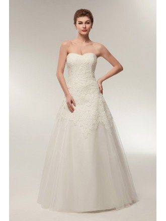 Strapless A Line Ivory Lace Bridal Dress For Destination Wedding