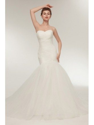 Simple Tulle Fit And Flare Pleated Bridal Dress Strapless For 2018
