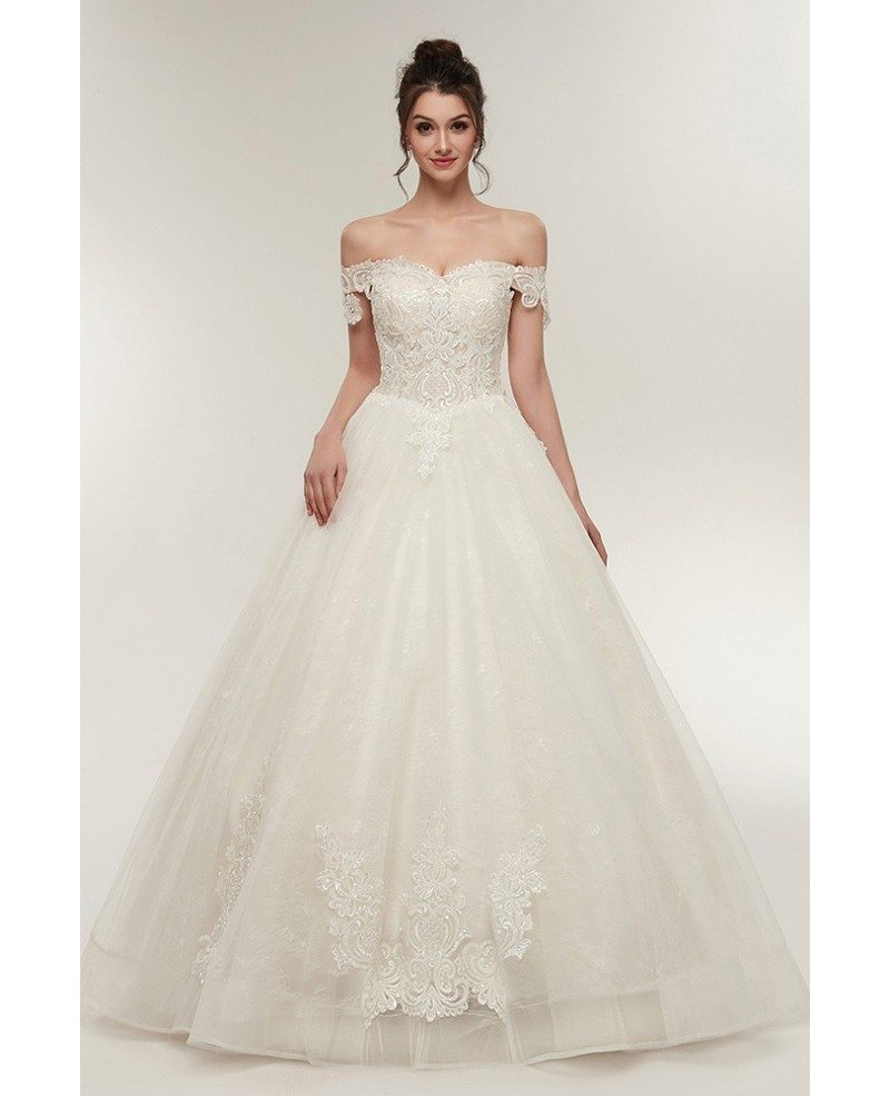 Unqiue Lace Princess Wedding Dress With Off The Shoulder Straps