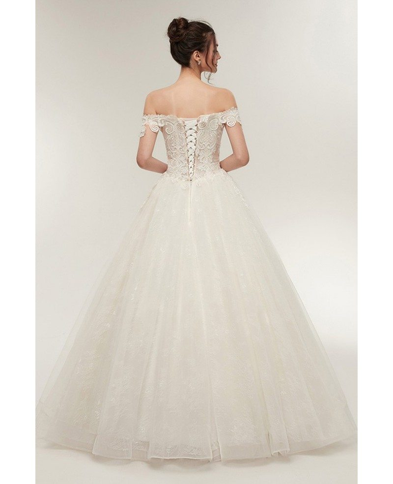 Lace Wedding Gown With Straps: Unqiue Lace Princess Wedding Dress With Off The Shoulder