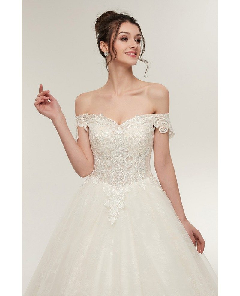 ... Unqiue Lace Princess Wedding Dress With Off The Shoulder Straps