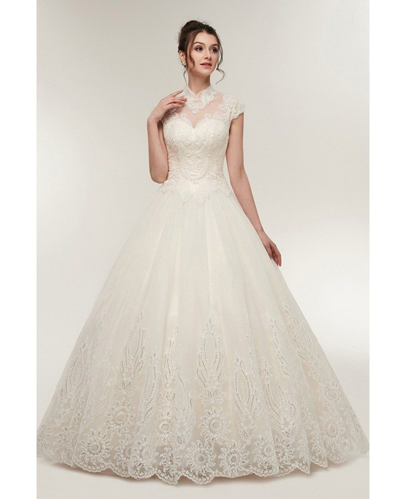 Vintage Collar Ballroom Wedding Dress with Exquisite Beading Lace ...