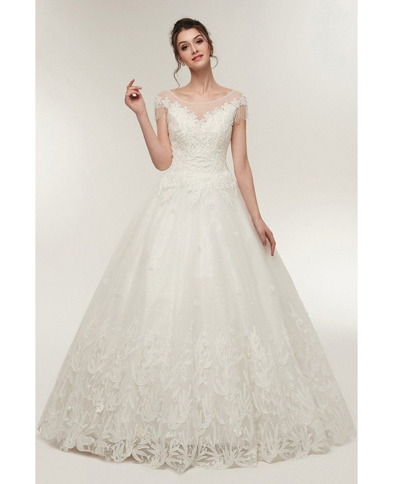 Princess Lace Corset Ball Gown Wedding Dress with Cap Sleeves #S640 ...