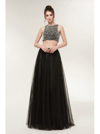 Different Black Beaded Formal Prom Dress In Tulle Two Piece
