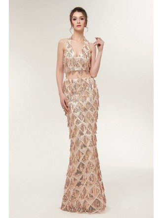 Long Halter Two Piece Gold Prom Dress Fitted with Sparkle Sequin
