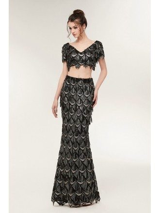 Two Piece Black Mermaid Prom Dress Sparkly with Fringed Sequin