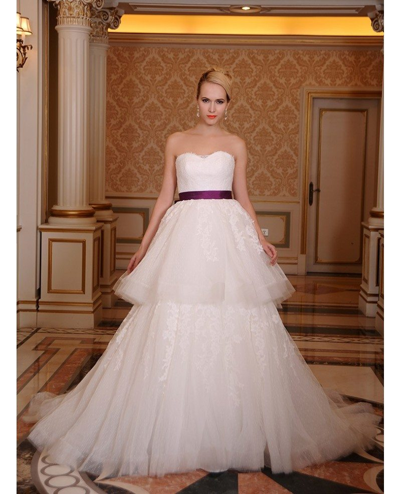 Ball gown sweetheart chapel train tulle wedding dress with for Wedding dresses chapel train