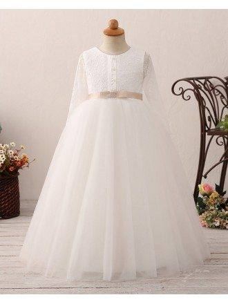 Vintage Tulle Lace Ballroom Flower Girl Dress with Long Sleeves