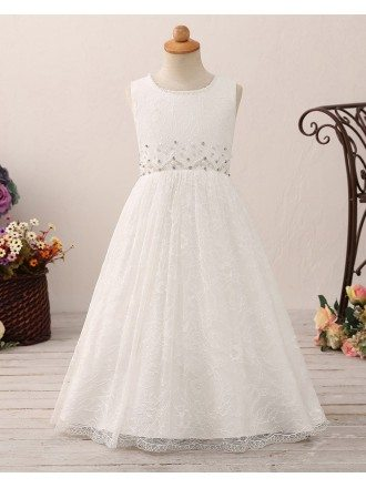 Vintage Long Lace Flower Girl Dress with Beading For Juniors